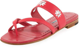 Manolo Blahnik Susahole Flat Slide Sandals