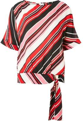 Dorothy Perkins Womens Multi Coloured Striped Tie Hem T-Shirt