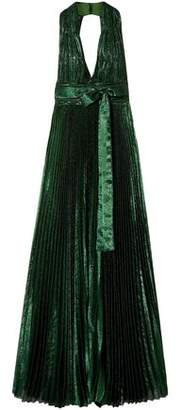 Elie Saab Open-Back Pleated Silk-Blend Lamé Gown