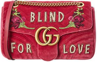 Gucci Gg Marmont Embroidered Velvet Blind For Love Shoulder Bag
