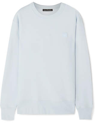 Acne Studios Fairview Face Appliquéd Cotton-jersey Sweatshirt - Light blue