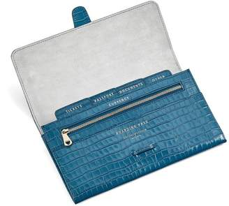 Aspinal of London Classic Travel Wallet In Deep Shine Topaz Small Croc