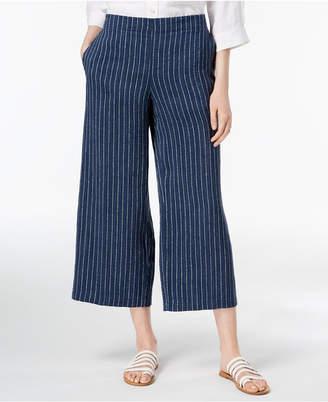 Eileen Fisher Organic Linen Pinstriped Wide-Leg Cropped Pants, Regular & Petite