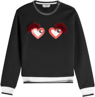 Fendi Cotton-Blend Sweatshirt with Hearts