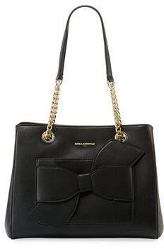 Karl Lagerfeld Paris Janelle Fara Bow-Pocket Shoulder Tote Bag