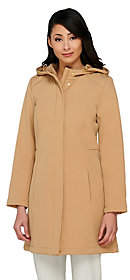 Isaac Mizrahi Live! Soft Shell Zip FrontHooded Coat