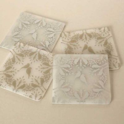 Coaster Notz set of 4 Birds Gold & Silver