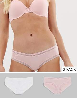 Dorina Lila 2 pack organic cotton with lace hipster in pink and white