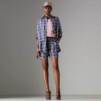 Burberry Scribble Check Silk Drawstring Shorts , Size: 08, Blue
