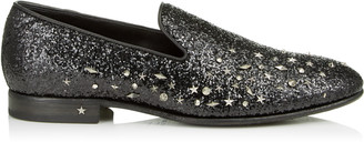 Jimmy Choo THAME Black Galactica Glitter Fabric Slipper with Mixed Studs