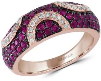 Effy 14K Rose Gold, Ruby 0.2 CT. T.W. Diamond Ring