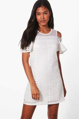 boohoo Lizzie Woven Cold Shoulder Dress