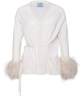 Prada Cardigan with tie belt and feathers