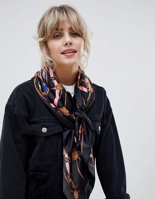 Bershka large chain printed scarf in multi