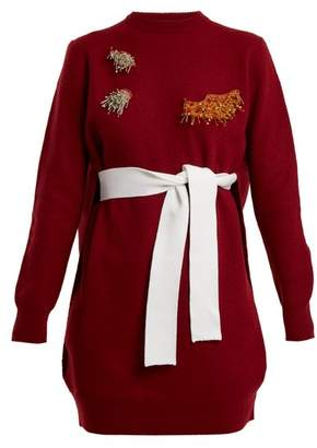 Toga - Round Neck Bead Embellished Wool Blend Dress - Womens - Red