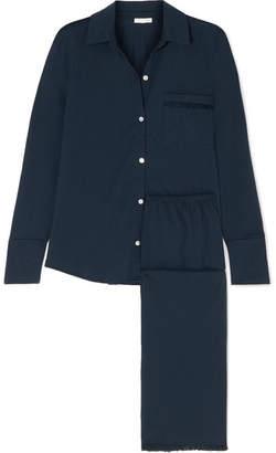 Skin - Jemma Voile-trimmed Pima Cotton-jersey Pajamas - Midnight blue