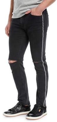 Joe's Jeans Men's Helio Checker-Stripe Slim-Fit Distressed Jeans