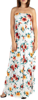 24/7 Comfort Apparel 24/7 Comfort Dresses Strapless Floral Maxi Dress