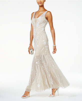 Adrianna Papell Beaded Illusion Tulle Gown $349 thestylecure.com