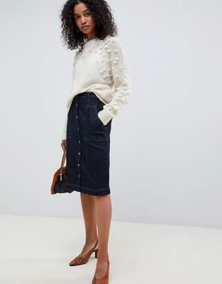 Selected High Waisted Denim Button Through Midi Skirt