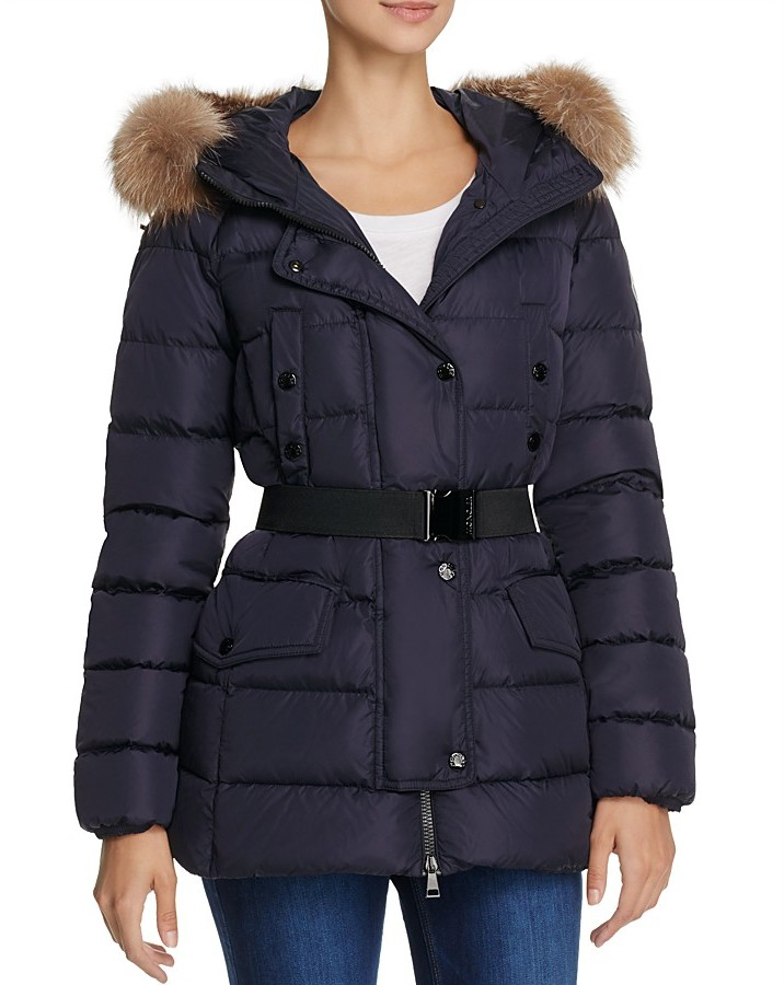 Moncler Moncler Clio Belted Fox Fur Trim Short Down Coat