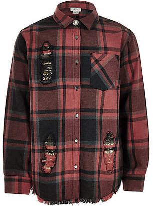 River Island Girls red check sequin patch shirt