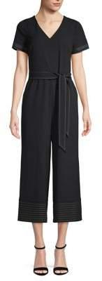 Karl Lagerfeld Paris Short Sleeve Tie Waist Jumpsuit