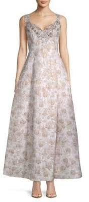 Adrianna Papell Floral Jacquard Ball Gown