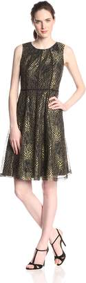 Anne Klein Women's Sleeveless Lace Fit and Flare Dress, Black/Gold