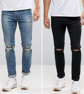 Asos Skinny Jeans 2 Pack In Black With Knee Rips & Mid Blue With Knee Rips Save