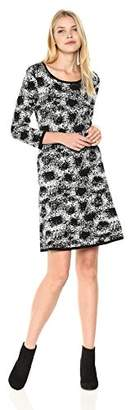 Nine West Women's 3/4 Sleeve Double Jaquard Petal Print Fit and Flare Dress