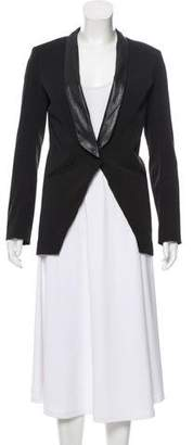 Mason Leather-Trimmed Tailored Blazer