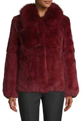 Fox Fur-Trimmed Rex Rabbit Fur Coat
