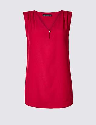 Marks and Spencer Pleated V-Neck Shell Top