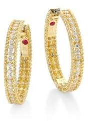 Roberto Coin Symphony Diamond& 18K Yellow Gold Hoop Earrings/0.75""