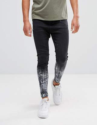 11 Degrees Super Skinny Drop Crotch Jeans In Black With Paint Splat