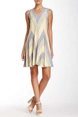 Max Studio Chevron Striped Jersey Knit Fit & Flare Dress