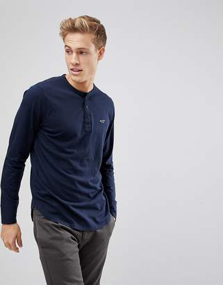 Hollister Logo Henley Long Sleeve Top in Navy