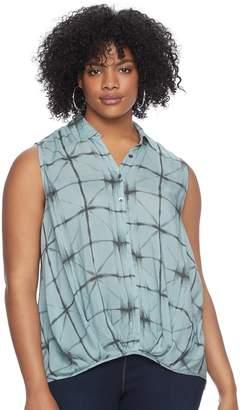 Rock & Republic Plus Size Plaid Sleeveless Shirt