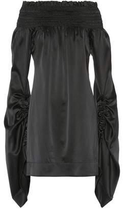 Saint Laurent Off-the-shoulder satin silk dress