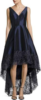 Betsy & Adam Taffeta and Lace Fit-and-Flare Dress