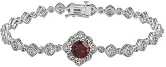 Vera Wang Simply Vera Sterling Silver Garnet & 1/7-ct. T.W. Diamond Bracelet