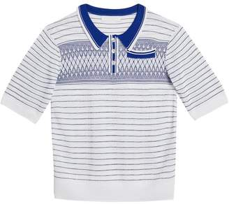 Burberry Stripe and Diamond Stitch Knitted Polo Shirt