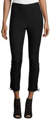 Derek Lam 10 Crosby Laced Stretch Ponte Leggings, Black
