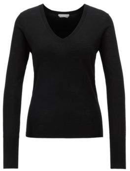 BOSS Hugo V-neck sweater in knitted virgin wool S Black