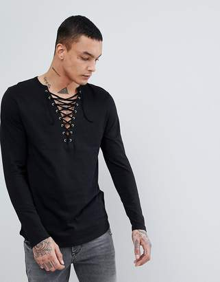 Asos DESIGN Longline Long Sleeve T-Shirt With Deep Lace Up Neck And Curved Hem With Gold Eyelets