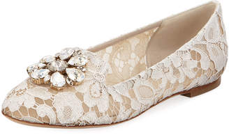 Dolce & Gabbana Vally Jewel-Embellished Lace Loafers