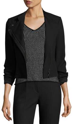 Armani Jeans Crepe Moto Jacket, Black