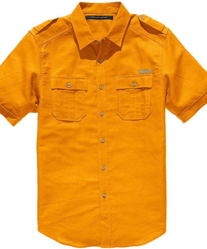 Sean John Shirt, Short Sleeve Linen Shirt