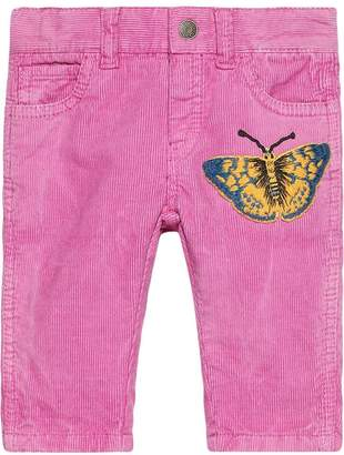Gucci Kids corduroy trousers with butterfly patch
